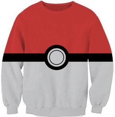 POKEBALL RED AND WHITE COLOURED LONG SLEEVES SHIRT - ANIME HOODIES AND SHIRTS