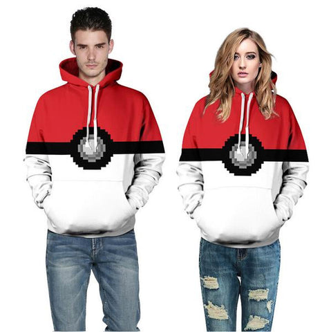 POKEMON POKE BALL PIXELATED HOODIE - ANIME HOODIES AND SHIRTS