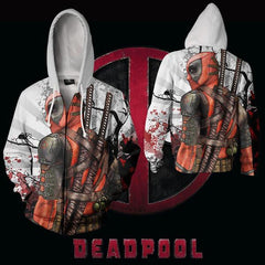 DEADPOOL WHITE ZIP UP HOODIE - BLOODY DEADPOOL 3D HOODIE - 3D HOODIES