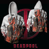 Image of DEADPOOL WHITE ZIP UP HOODIE - BLOODY DEADPOOL 3D HOODIE - 3D HOODIES