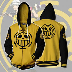 TRAFALGAR LAW LOGO ONE PIECE ARMOUR ZIP UP HOODIE - YELLOW 3D JACKET