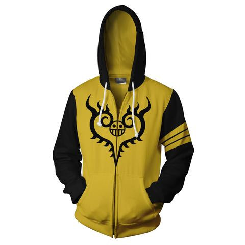 TRAFALGAR LAW TATTOOS 2 ZIP UP JACKET - 3D ARMOUR YELLOW HOODIE