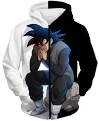 DRAGON BALL SUPER Z HOODIES - Black Goku Evil Thinking Moment Hoodie - DBZ 360 CLOTHING