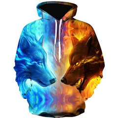 Image of FIRE AND ICE WOLF HOODIE - FIRE WOLF AND ICE WOLF 3D HOODIE - 3D HOODIES