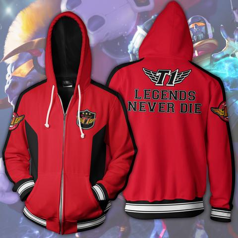 LEGENDS NEVER DIE  ZIP UP JACKET - 3D RED HOODIE