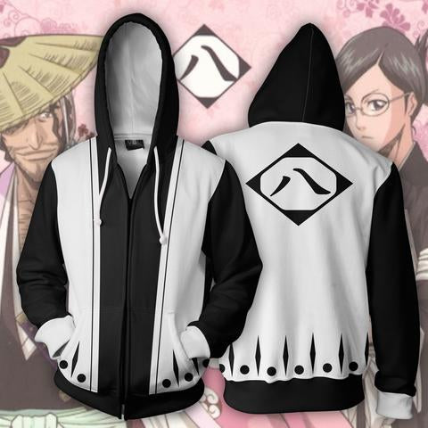 SHUNSUI KYŌRAKU 8TH DIVISION ARMOUR ZIP UP HOODIE BLEACH - 3D BLACK JACKET