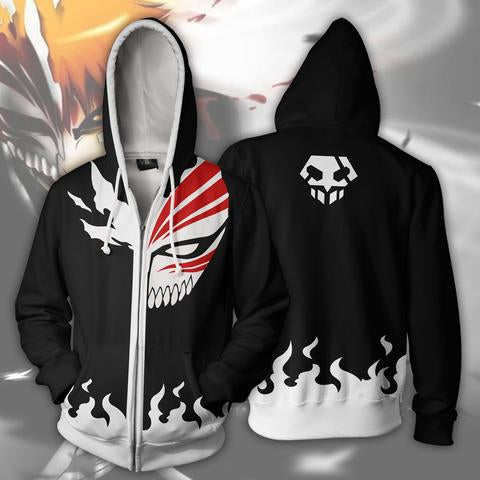 BLEACH HOLLOW ICHIGO ARMOUR ZIP UP HOODIE - 3D BLACK JACKET