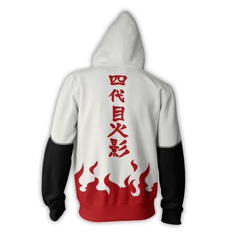 4TH HOKAGE MINATO NAMIZAKE WHITE ZIP UP HOODIE - NARUTO SHIPPUDEN HOODIES AND SHIRTS - ANIME HOODIES AND MORE