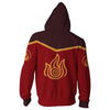Image of AVATAR THE LAST AIRBENDER HOODIE - FIRE NATION ZIP UP HOODIE - 3D JACKET