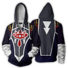Image of THE LEGEND OF ZELDA SHEIK BLACK ZIP UP JACKET - 3D BLACK ARMOUR HOODIE