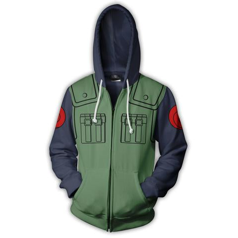 HATAKE KAKASHI ZIP UP HOODIE - NARUTO 3D PRINTED CLOTHING - ANIME HOODIES AND SHIRTS