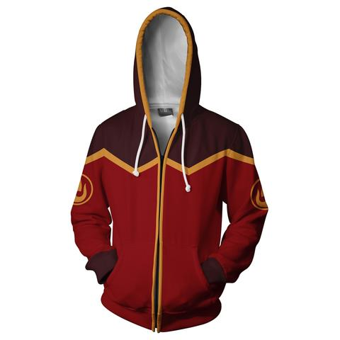 AVATAR THE LAST AIRBENDER HOODIE - FIRE NATION ZIP UP HOODIE - 3D JACKET
