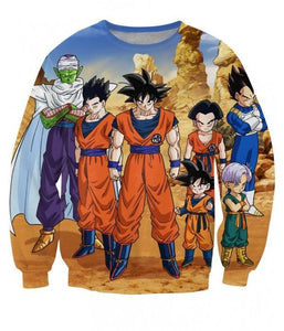 Dragon Ball Z-Fighters Team Earth's Special Forces 3D Printed Long Sleeve