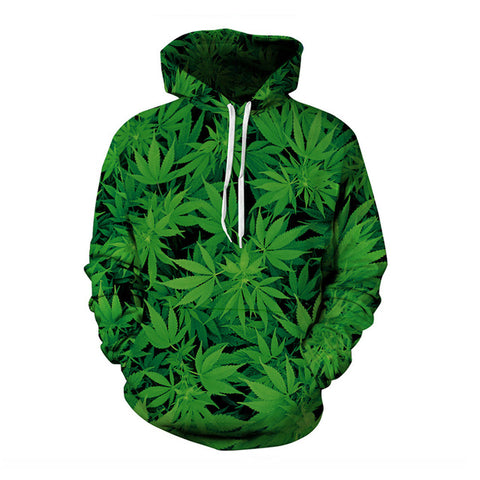 Green Leaves Hoodies - 3D Printed Hoodies - Pullover Jacket