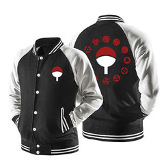 UCHIHA CLAN SHARINGAN VARSITY ARMOUR JACKET - 3D BLACK JACKET
