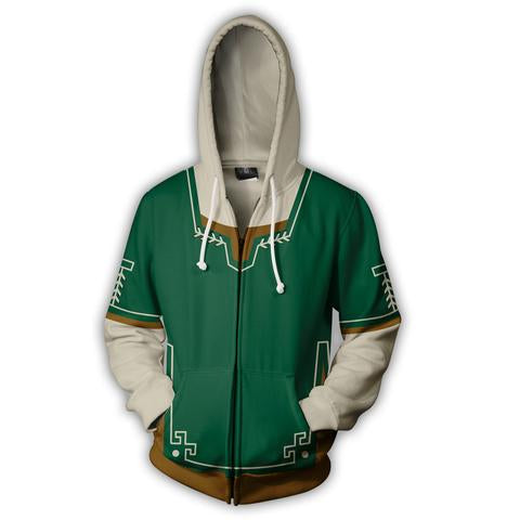 THE LEGEND OF ZELDA LOGO GREEN ZIP UP JACKET - 3D GREEN ARMOUR HOODIE