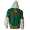 Image of THE LEGEND OF ZELDA LOGO GREEN ZIP UP JACKET - 3D GREEN ARMOUR HOODIE