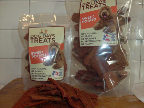 Sweet Potato Jerky Treats in 5 ounce or 16 ounce packages