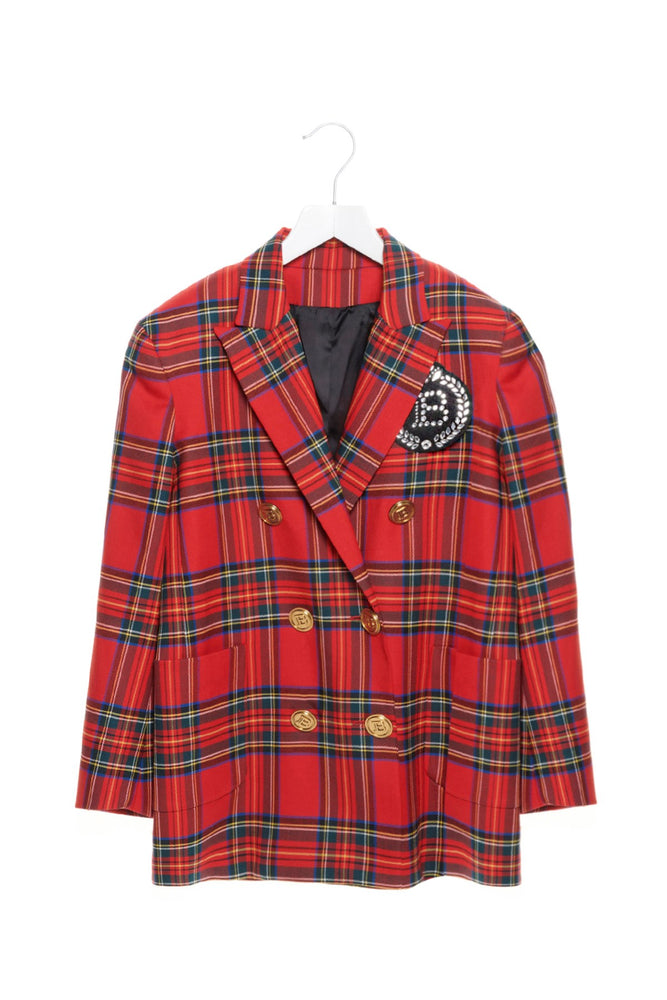 BALMAIN Kids' Embellished Logo Patch Checked Blazer
