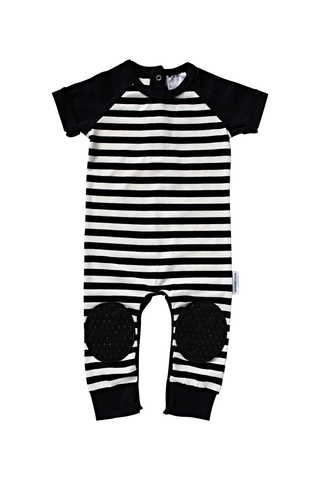 Short Sleeve Black Stripe Crawlsuit