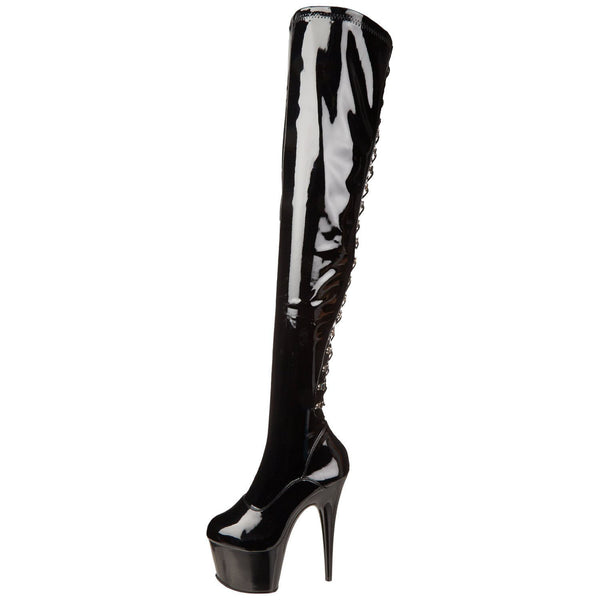 PLEASER ADORE-3063 Black Stretch Pat Thigh High Boots - Shoecup.com - 5