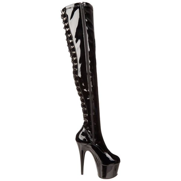 PLEASER ADORE-3063 Black Stretch Pat Thigh High Boots - Shoecup.com - 6