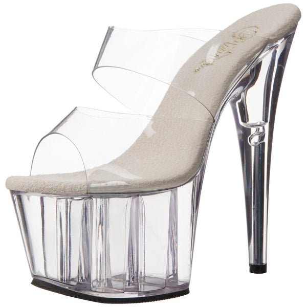 PLEASER ADORE-702 Clear Stiletto Slides - Shoecup.com - 1