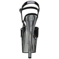 PLEASER ADORE-709 Black Pat-Silver Chrome Ankle Strap Sandals - Shoecup.com - 3