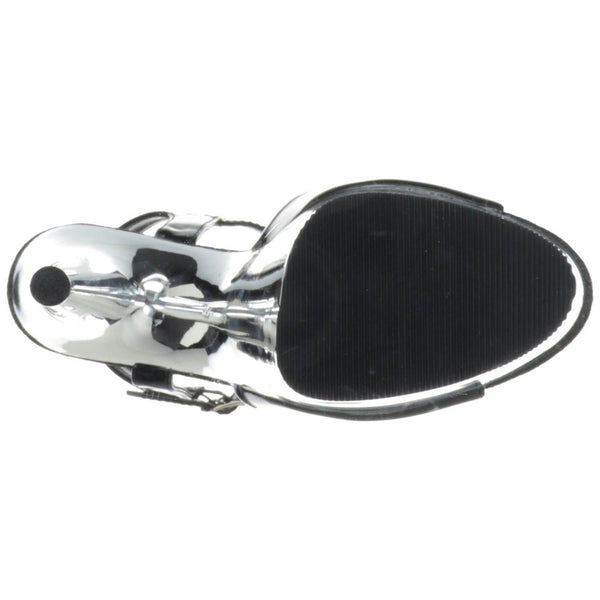 PLEASER ADORE-709 Black Pat-Silver Chrome Ankle Strap Sandals - Shoecup.com - 7