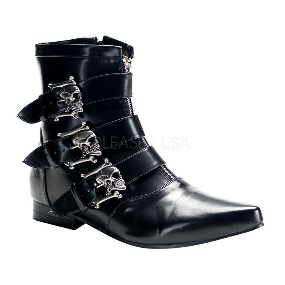 DEMONIA BROGUE-06 Men's Black Nappa Pu Vegan Boots