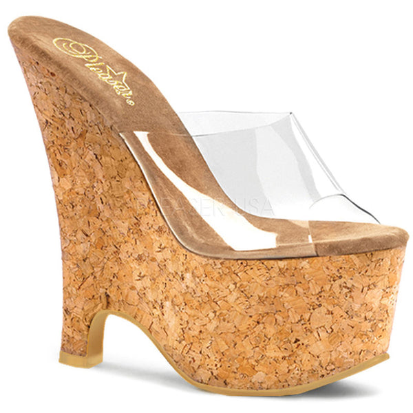 PLEASER BEAU-601 Clear-Tan-Cork Wedges - Shoecup.com - 1