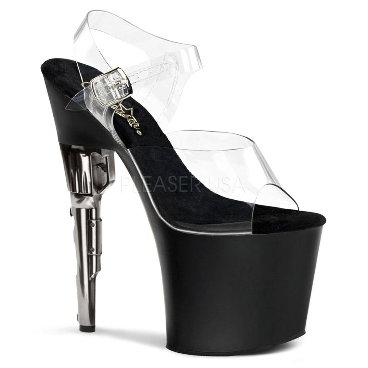 PLEASER BONDGIRL-708 Clear-Black Matte Ankle Strap Sandals - Shoecup.com - 1