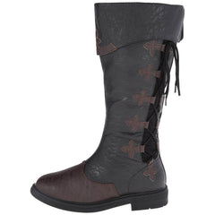 CAPTAIN-110 Men's Black-Brown Distressed Pu Pirate Boots - Shoecup.com - 4