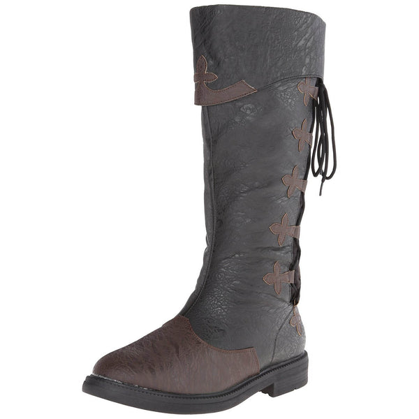CAPTAIN-110 Men's Black-Brown Distressed Pu Pirate Boots - Shoecup.com - 2