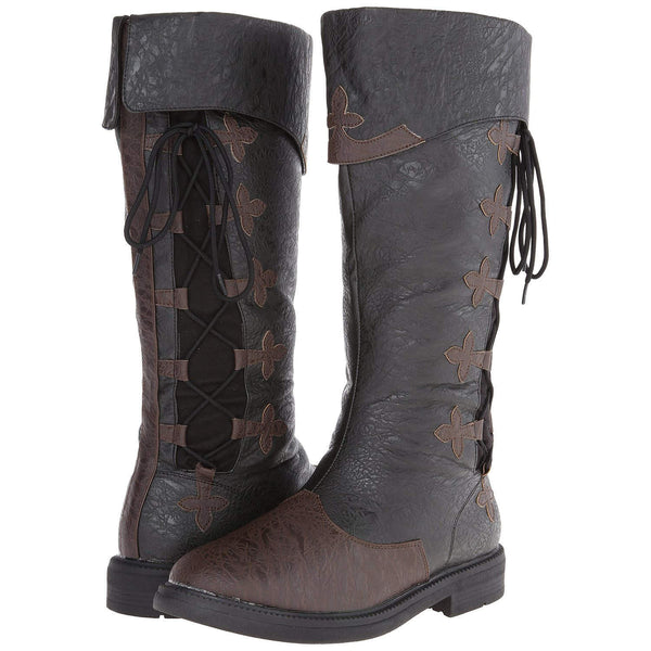 CAPTAIN-110 Men's Black-Brown Distressed Pu Pirate Boots - Shoecup.com - 1
