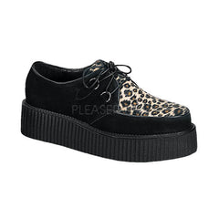 Demonia,DEMONIA CREEPER-400 Men's Black Suede-Cheetah Fur Creepers - Shoecup.com