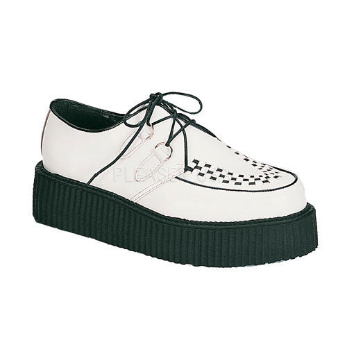 DEMONIA CREEPER-402 Men's White Leather Creepers
