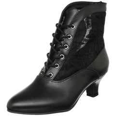 FUNTASMA DAME-05 Black Victorian Granny Boots With Lace Accent - Shoecup.com - 2