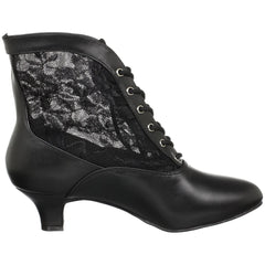 FUNTASMA DAME-05 Black Victorian Granny Boots With Lace Accent - Shoecup.com - 6