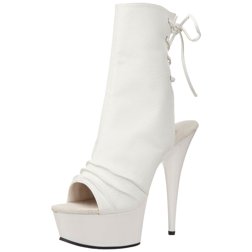PLEASER DELIGHT-1018 White Pu Ankle Boots