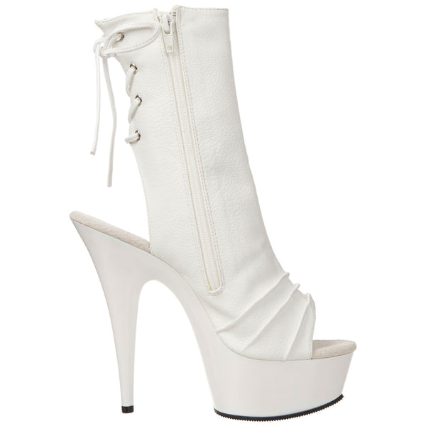 PLEASER DELIGHT-1018 White Pu Ankle Boots - Shoecup.com - 5
