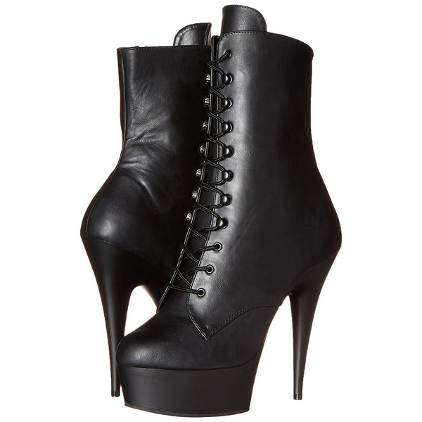 Pleaser DELIGHT-1020 Black Faux Leather Ankle Boots - Shoecup.com - 8