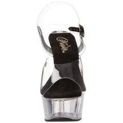 PLEASER DELIGHT-608 Clear-Black-Clear Ankle Strap Sandals - Shoecup.com - 2