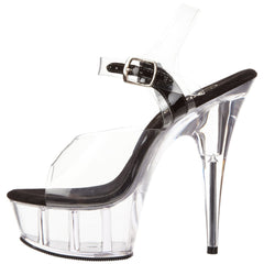 PLEASER DELIGHT-608 Clear-Black-Clear Ankle Strap Sandals - Shoecup.com - 4