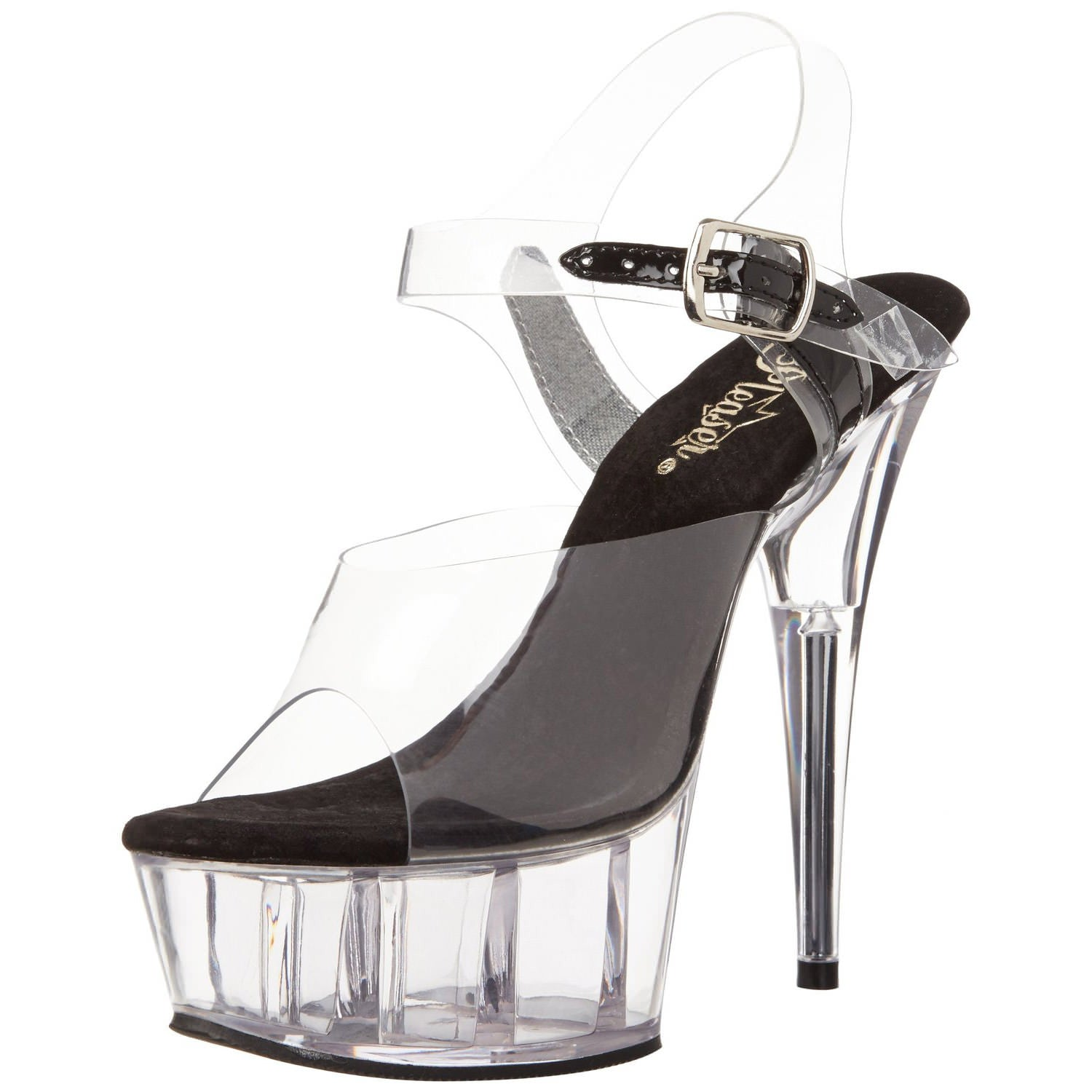 PLEASER DELIGHT-608 Clear-Black-Clear Ankle Strap Sandals - Shoecup.com - 1