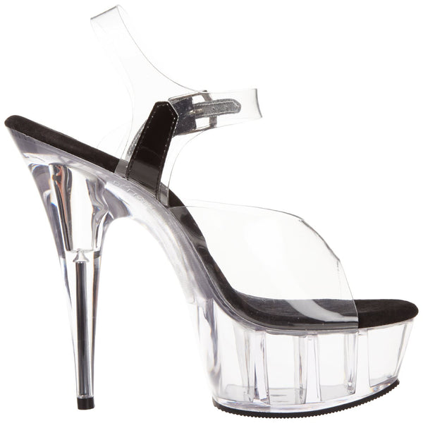 PLEASER DELIGHT-608 Clear-Black-Clear Ankle Strap Sandals - Shoecup.com - 5