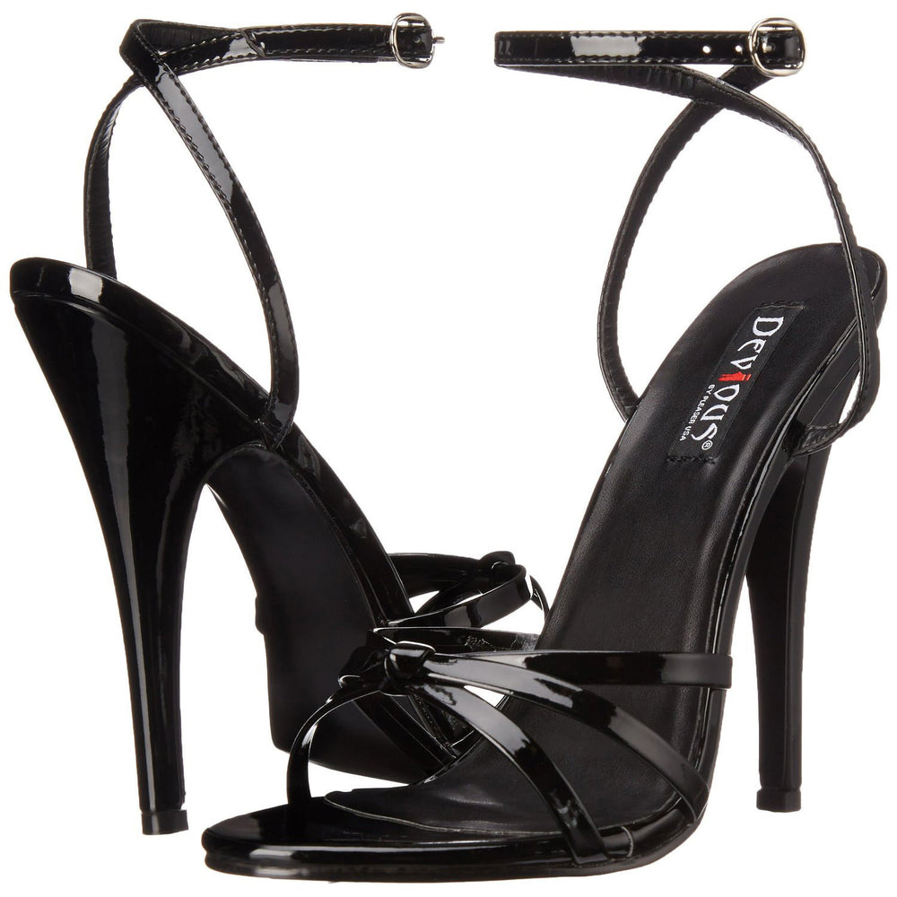 DEVIOUS DOMINA-108 Black Pat Ankle Strap Sandals