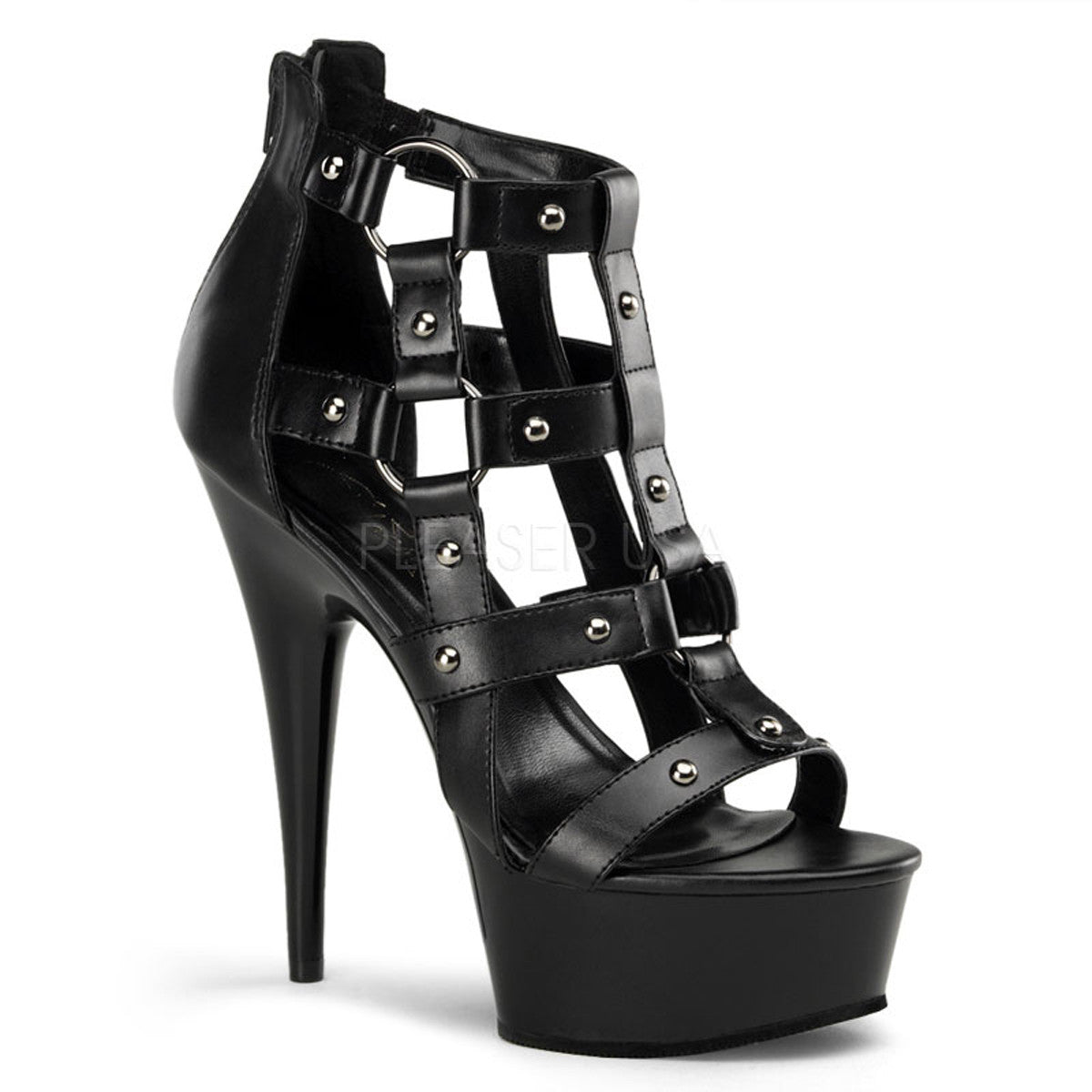 PLEASER DELIGHT-682 Black Cage Sandals - Shoecup.com