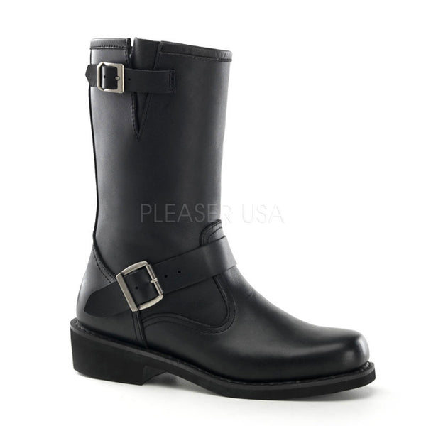 DEMONIA Men's Black Leather Engineer Boots - Shoecup.com