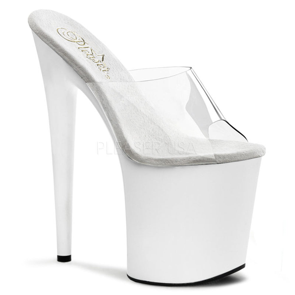 PLEASER FLAMINGO-801 Clear-White Platform Slides